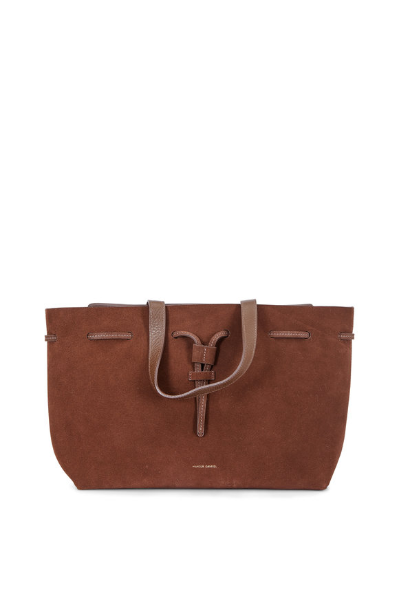 Mansur Gavriel Lady Chocolate Suede Medium Top Handle Bag