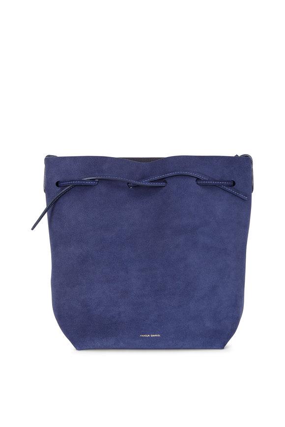 Mansur Gavriel Blue Suede Medium Bucket Bag