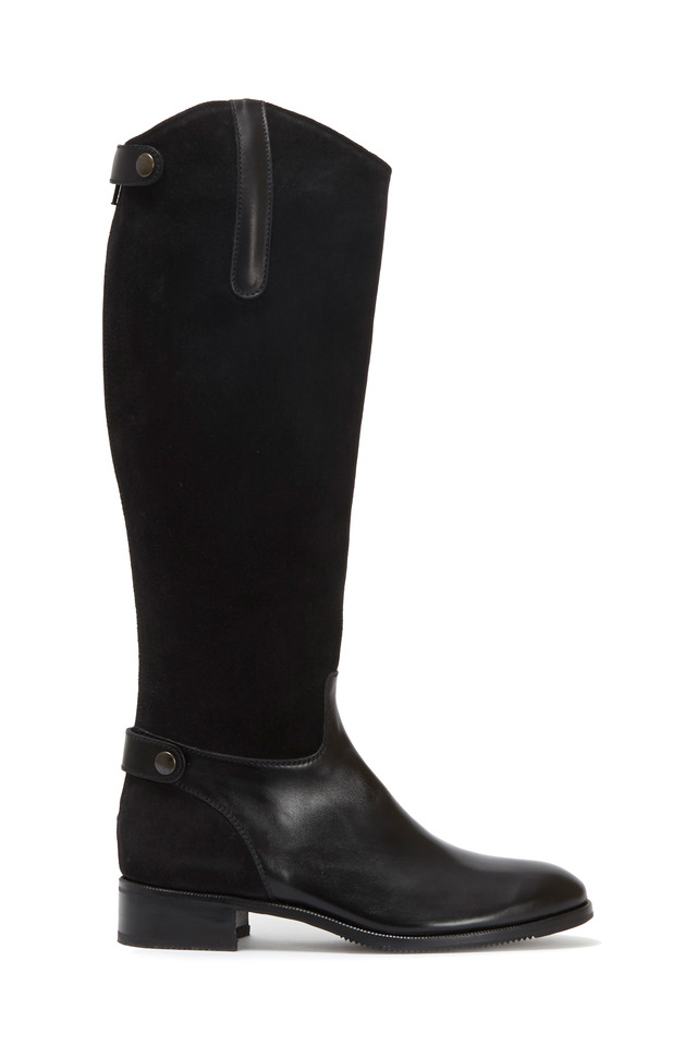 Black Suede & Leather Tall Boot, 35mm