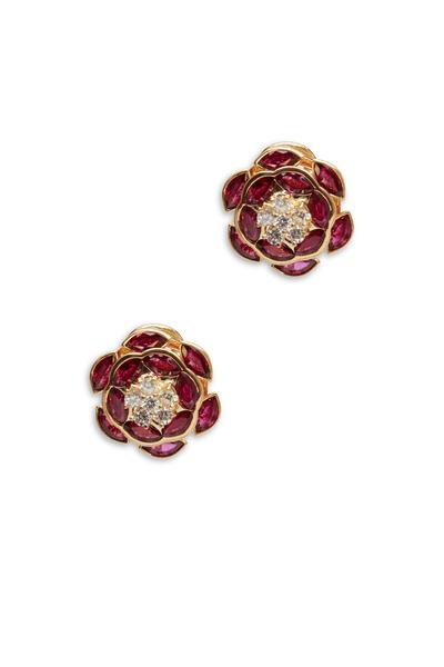 Oscar Heyman - Yellow Gold Ruby White Diamond Earrings