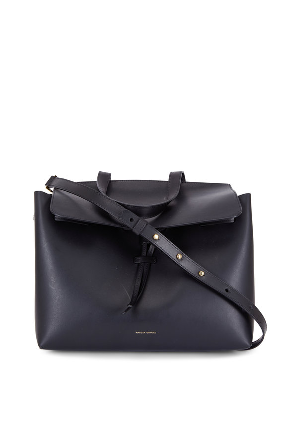 Mansur Gavriel Lady Black Leather Medium Top Handle Bag