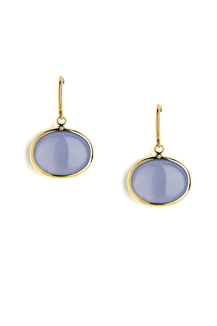 Blue Chalcedony Earrings On A French Wire