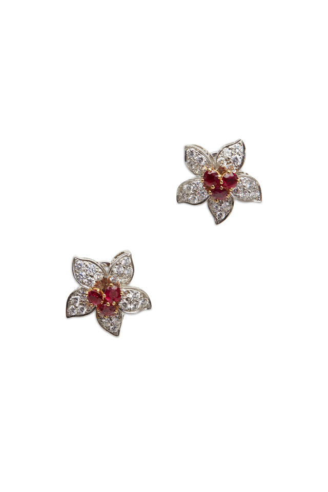 Yellow Gold Ruby White Diamond Flower Earrings