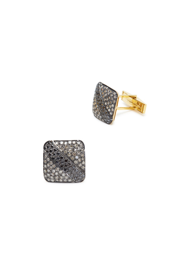 Yellow Gold & Sterling Silver Diamond Cuff Links