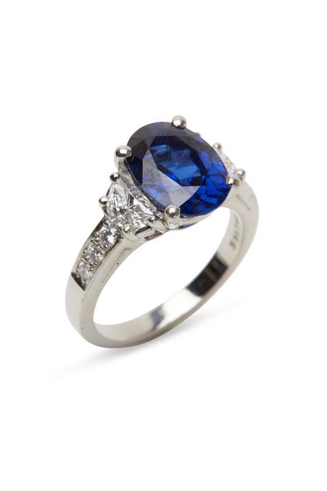 Platinum Blue Sapphire & Diamond Ring