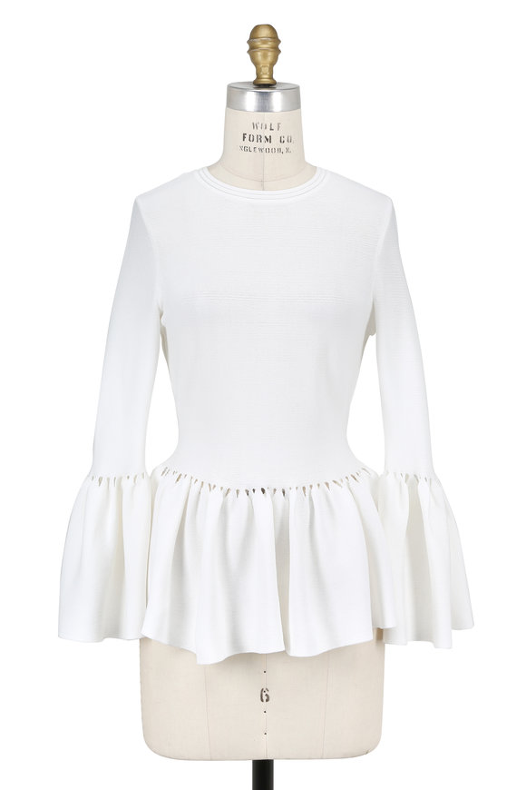 Jonathan Simkhai White Knit Bell Sleeve Top