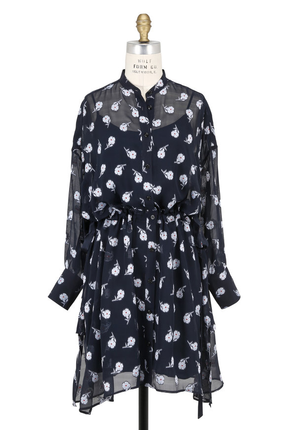 Rag & Bone Elodie Navy Floral Jacquard Drawstring Waist Dress