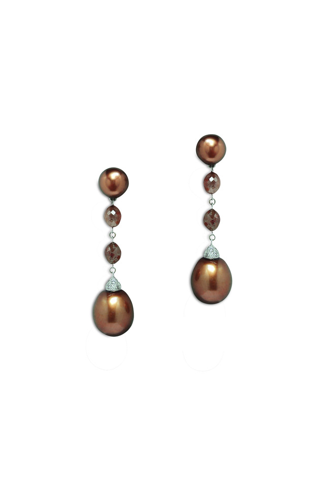 White Gold Chocolate Pearl Diamond Earrings
