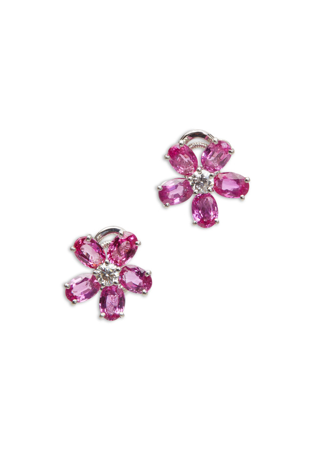Platinum Pink Sapphire Flower Earrings