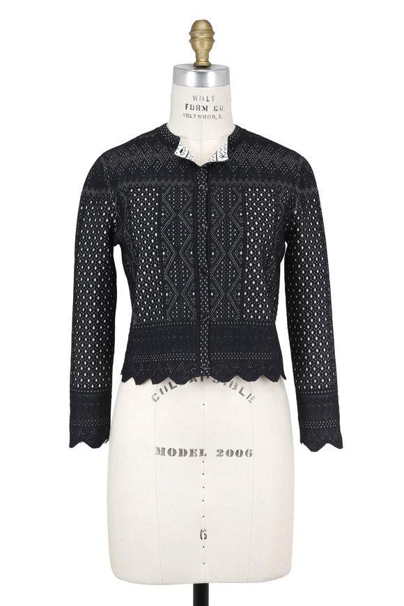 Alexander McQueen Black Jacquard Lace Knit Cardigan