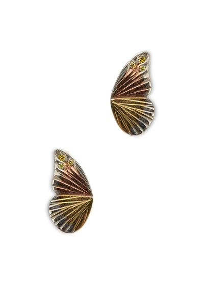 James Banks - Buckeye Butterfly Wing Gold Stud Earrings