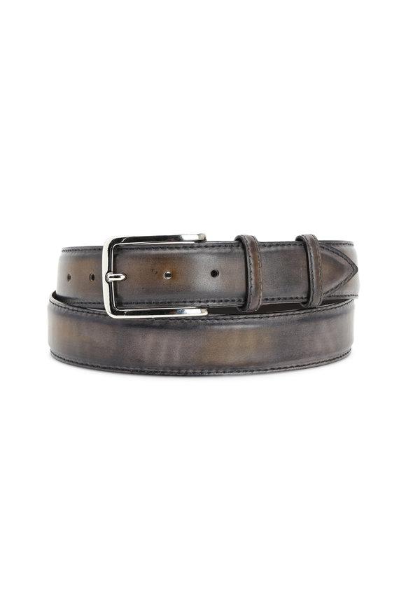 Bontoni Gray Leather Belt