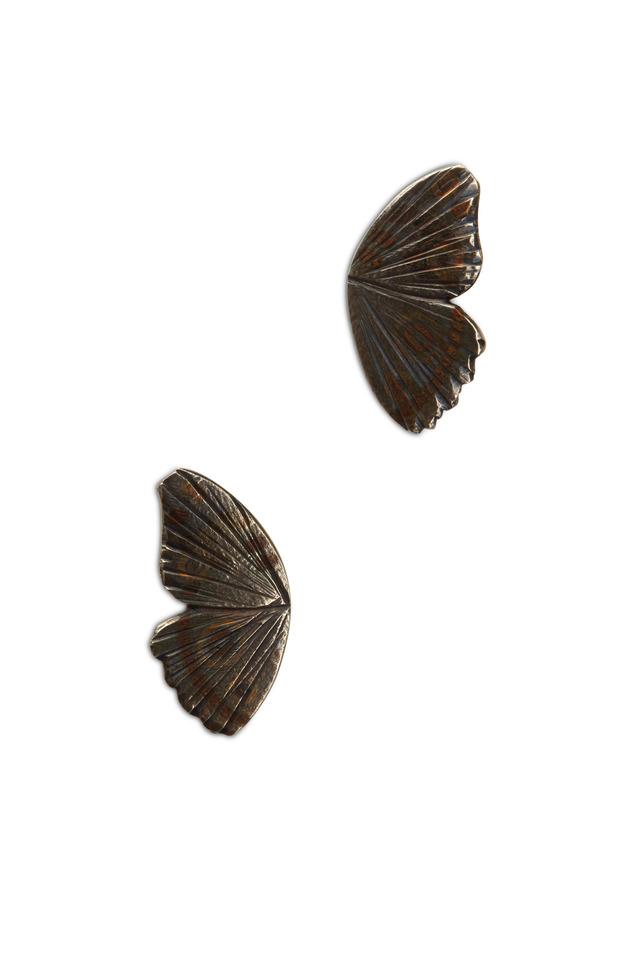 Buckeye Butterfly Wing Gold Stud Earrings