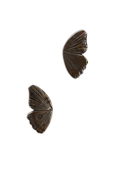 James Banks - Buckeye Butterfly Wing Gold Stud Earrings