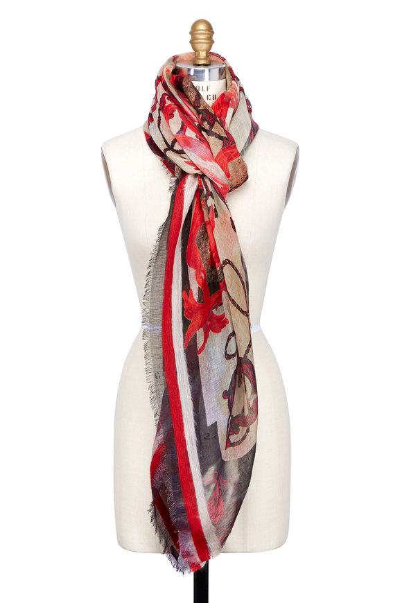 Dianora Salviati Sand & Red Crown & Key Print Linen Blend Scarf