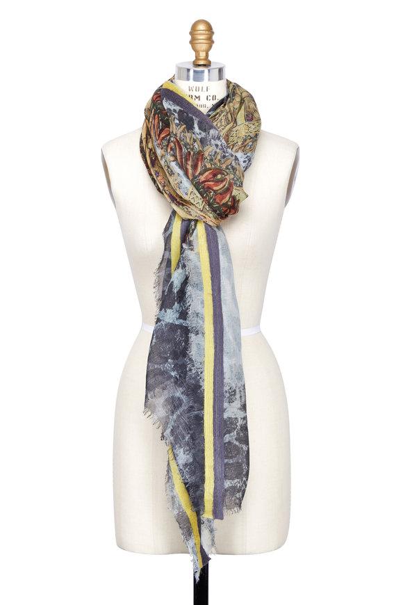 Dianora Salviati Yellow Pepper & Leopard Print Linen Blend Scarf