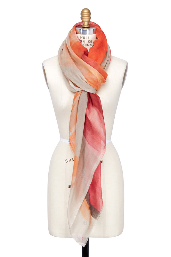 Dianora Salviati Red & Taupe Hand-Painted Cashmere & Cotton Scarf