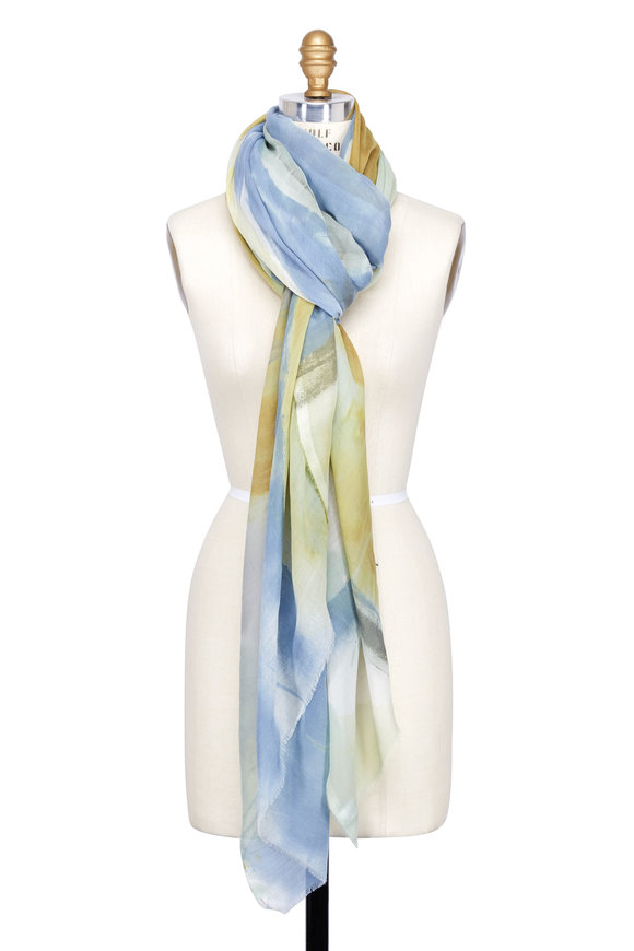 Dianora Salviati Gray & Green Hand-Painted Cashmere & Cotton Scarf