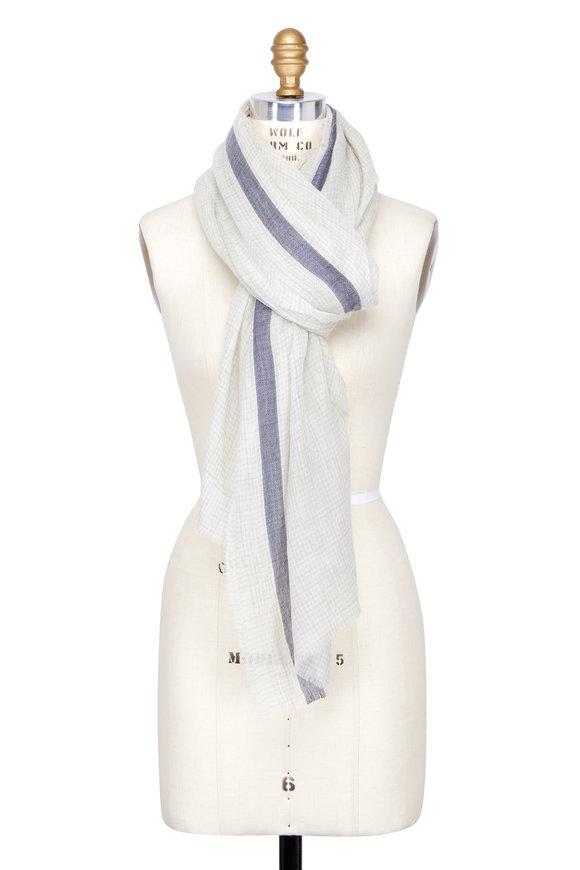 Dianora Salviati Light Grey & Blue Striped Cashmere Scarf
