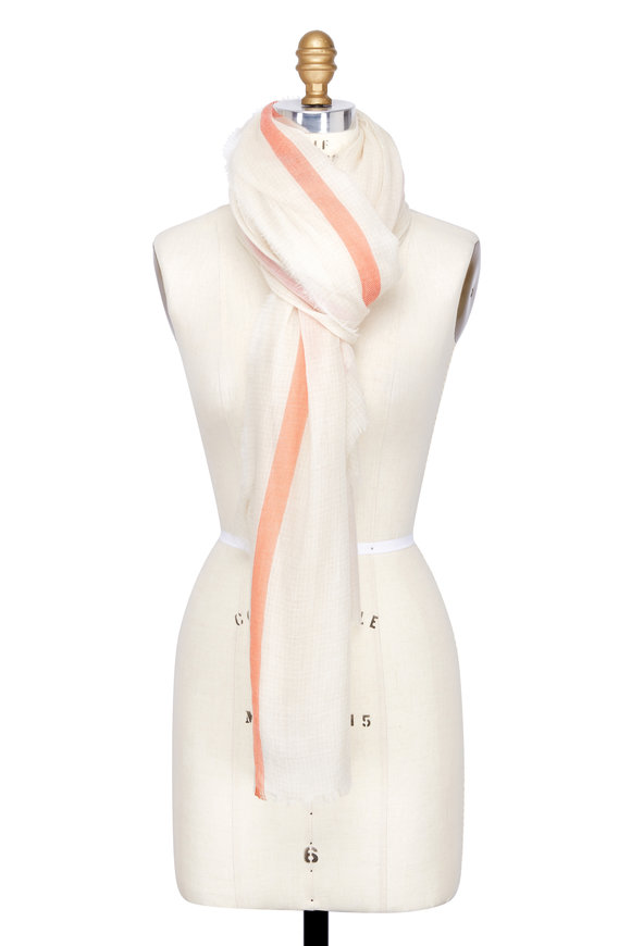 Dianora Salviati Ivory & Orange Striped Cashmere Scarf