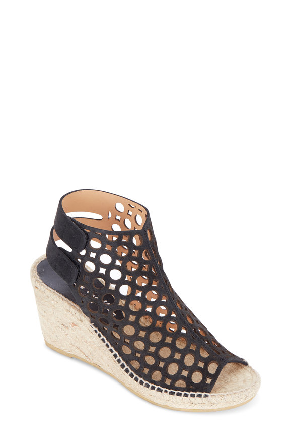 Bettye Muller Duchess Black Geo Cut-Out Suede Wedge, 75mm