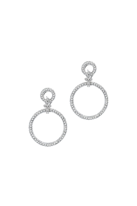 Aaron Henry White Diamond Circles Large Hanging Earrings