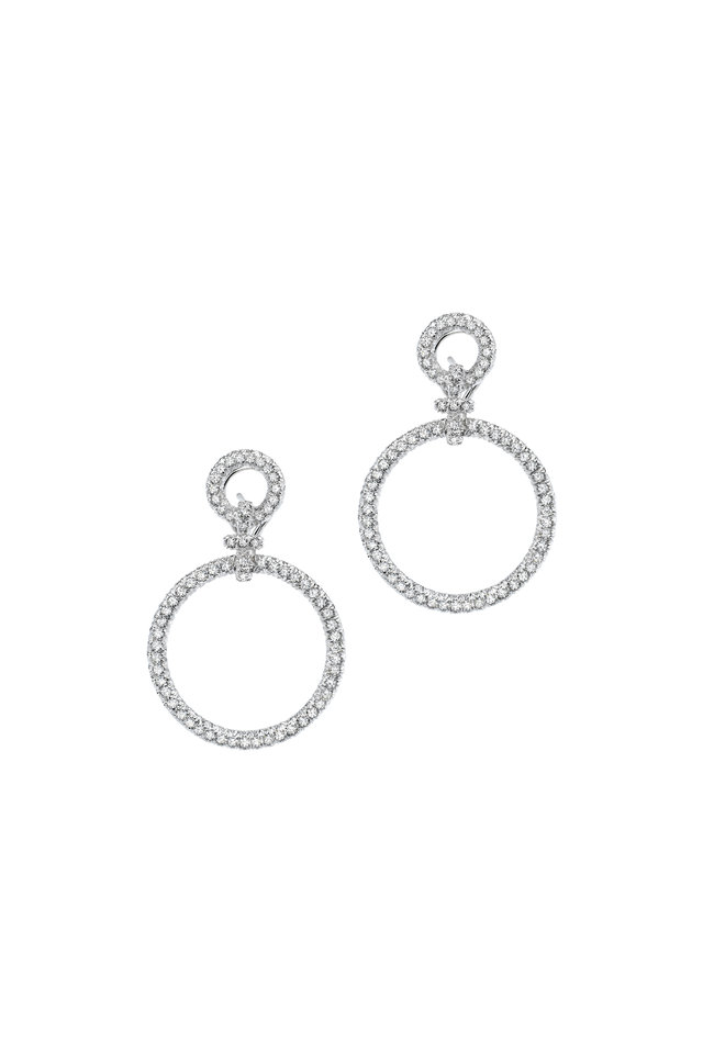 White Diamond Circles Large Hanging Earrings
