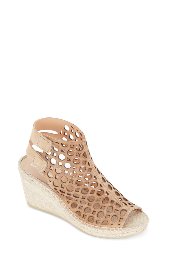 Bettye Muller Duchess Tan Geo Cut-Out Suede Wedge, 75mm