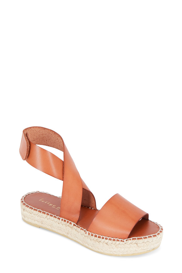 Bettye Muller Seven Tan Leather Espadrille Flatform, 25mm