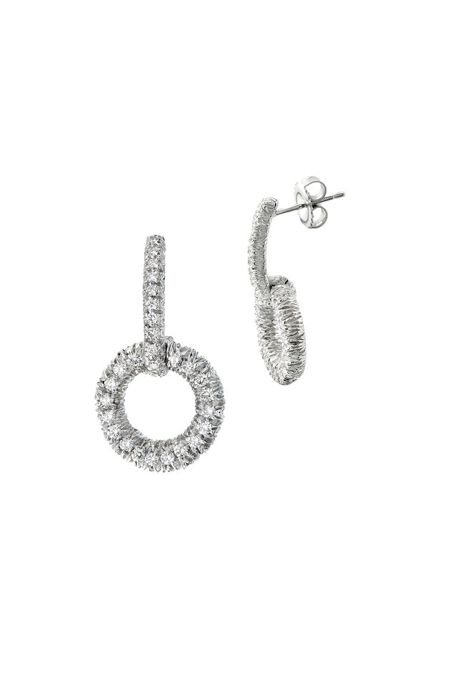 White Gold Diamond Circle Dangle Earrings