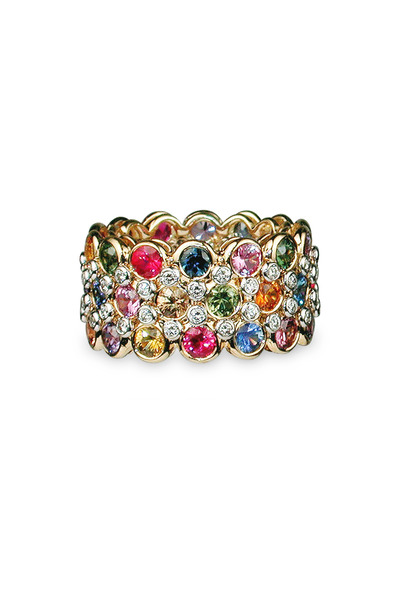 Aaron Henry - Yellow Gold Three Rows Sapphire & Diamond Ring