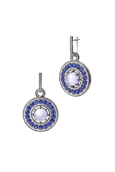 Nam Cho - 18K Gold Chalcedony, Sapphire & Diamond Earrings