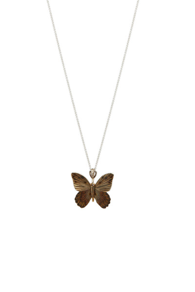 James Banks - Butterfly Yellow & White Gold Necklace