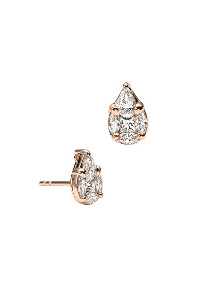 Nam Cho - 18K Rose Gold Pearshape Diamond Studs