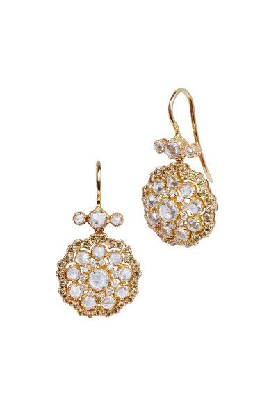 Nam Cho - 18K Rose Gold White Sapphire & Diamond Earrings