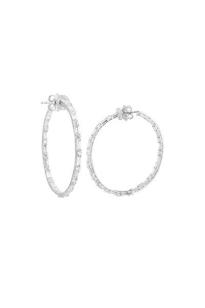 Nam Cho - 18K White Gold Diamond Hoop Earrings