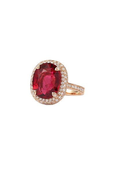 Nam Cho - 18K Pink Gold Rubelite & Diamond Cocktail Ring