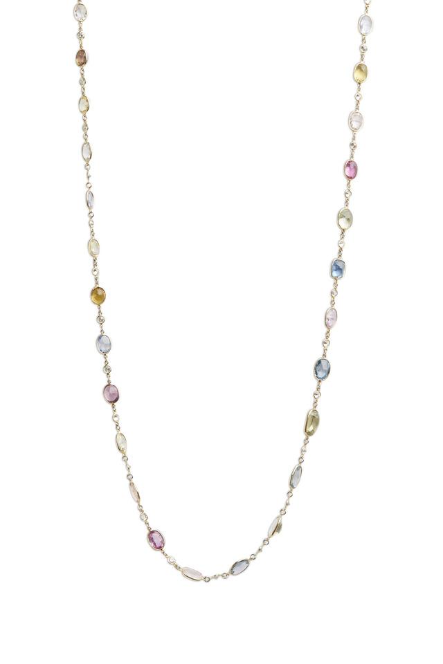 Multicolor Sapphire & Diamond Long Necklace