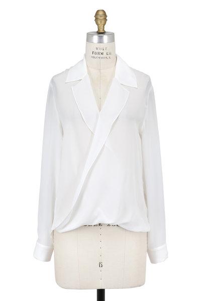 L'Agence - Rita Ivory Silk Draped Front Blouse