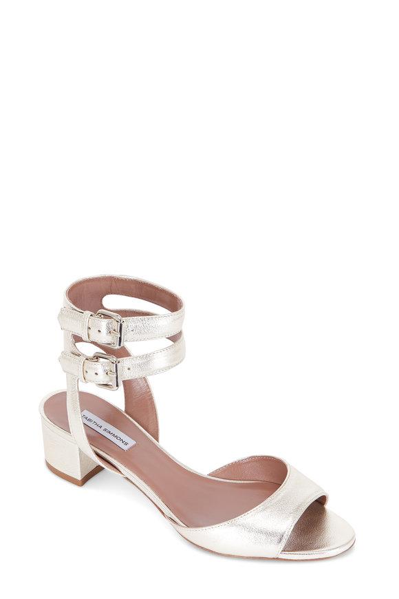 Tabitha Simmons Aimee Champagne Metallic Double Strap Sandal, 40mm