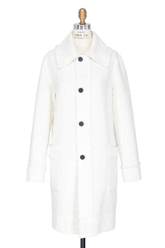 Raquel Allegra White Four Button Car Coat