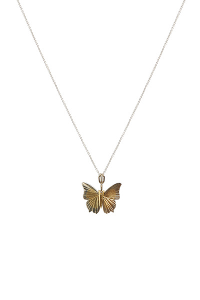 James Banks - Butterfly White & Yellow Gold Necklace