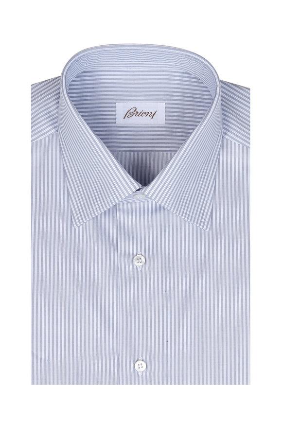 Brioni Clark Light Blue & White Striped Dress Shirt