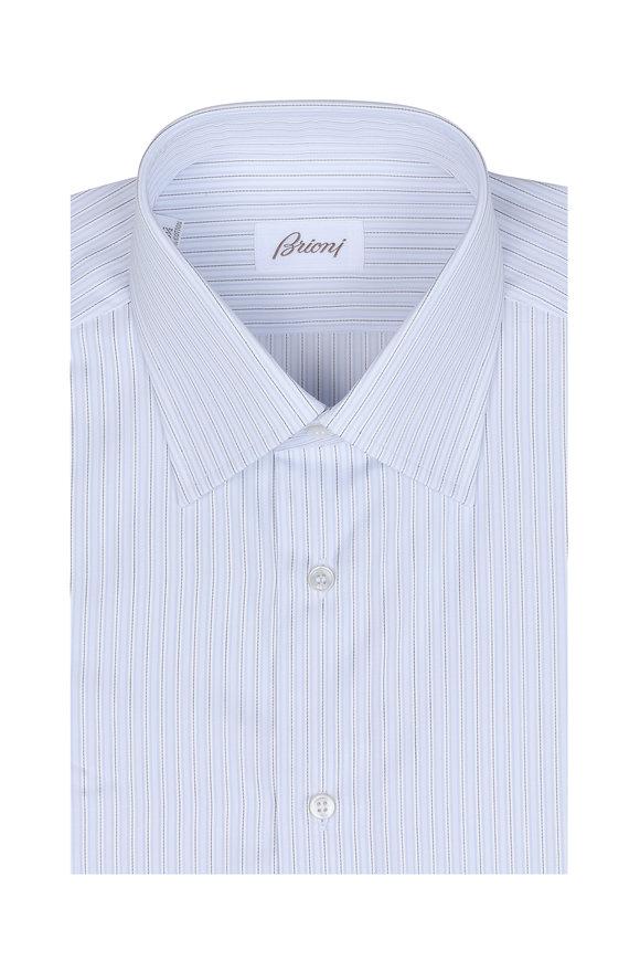 Brioni Clark White, Blue & Gray Pinstriped Dress Shirt