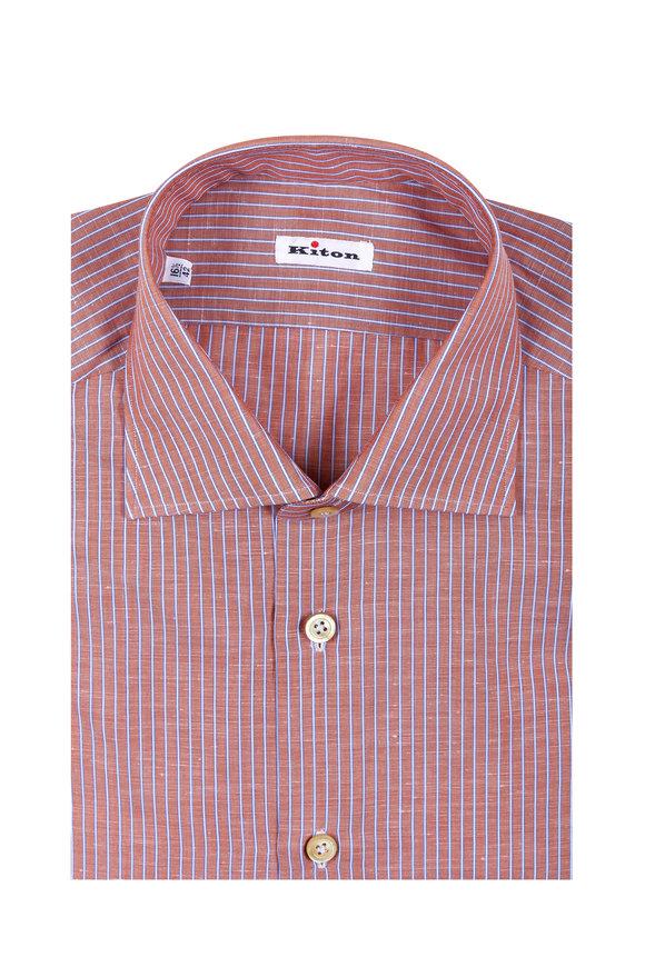 Kiton Orange & Blue Striped Cotton & Linen Dress Shirt