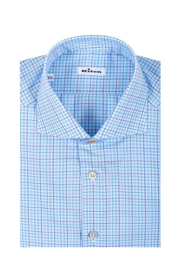 Kiton Teal Plaid Dress Shirt