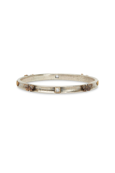 James Banks - Butterfly Gold & Silver White Sapphire Bangle