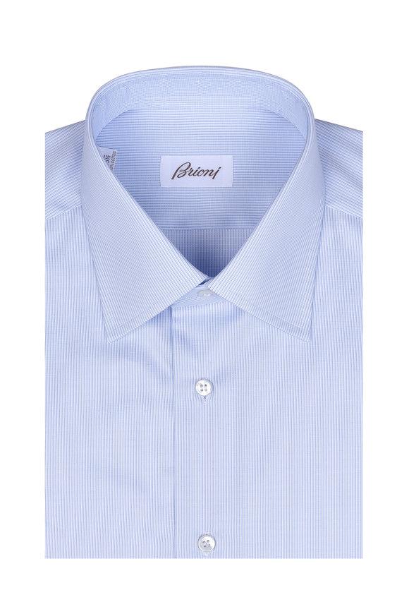 Brioni Clark Sky Blue & White Striped Dress Shirt