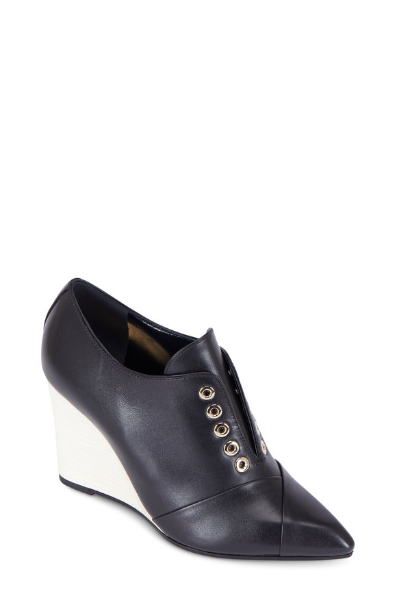 Lanvin Black Leather White Wedge Bootie, 85mm