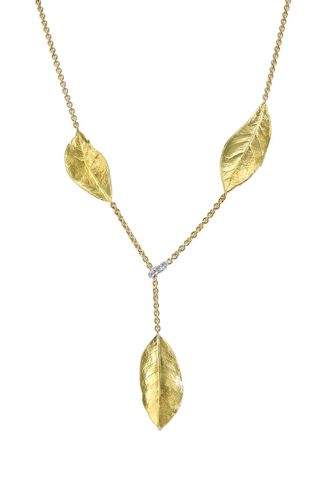 Yellow Gold Oak Leaf Diamond Lariat Necklakce